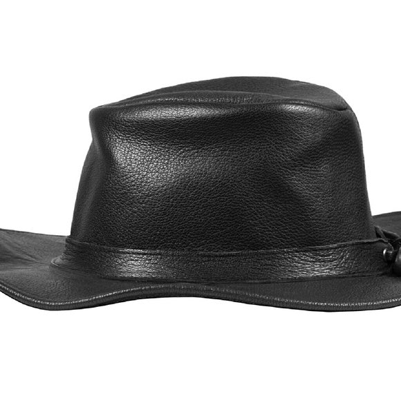 The Onyx black leather fedora Small