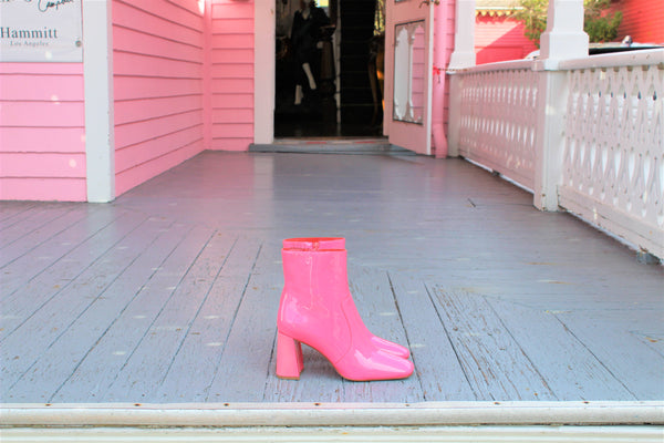 Patti Pink Patent leather booties