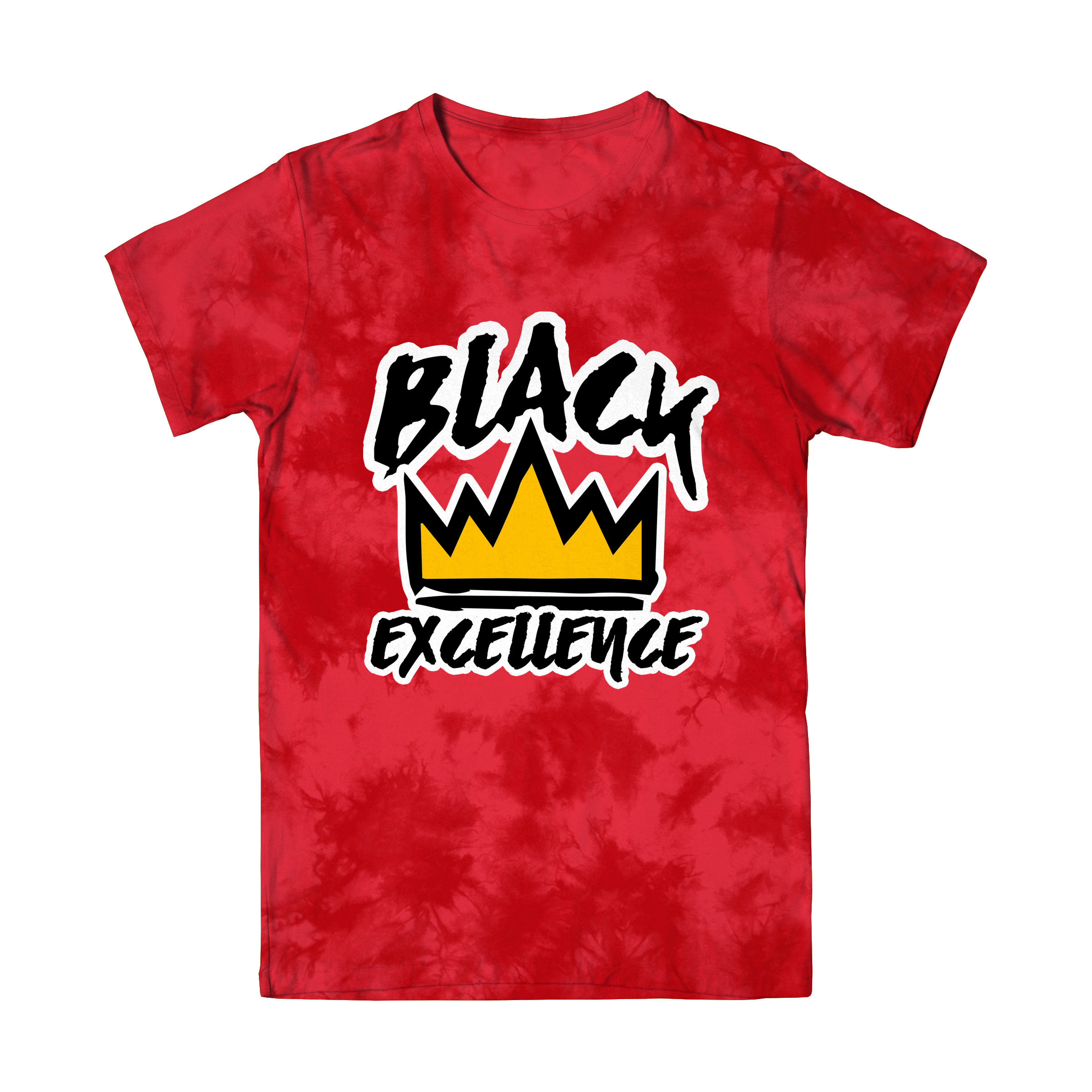 Red Tie-Dye Black Excellence T Shirt (Ships out March 15)