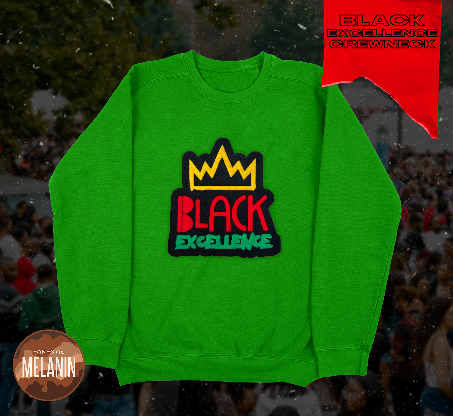 Kelly Green Black Excellence Chenille Patch Sweatshirt