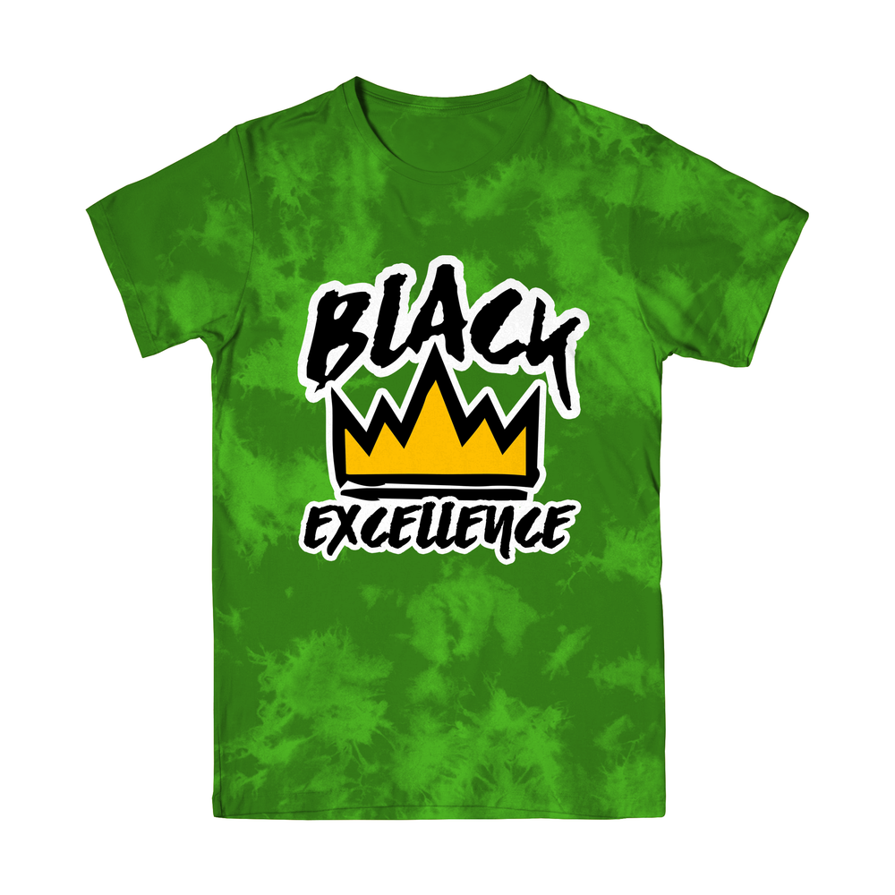 Green Blue Tie-Dye Black Excellence T Shirt