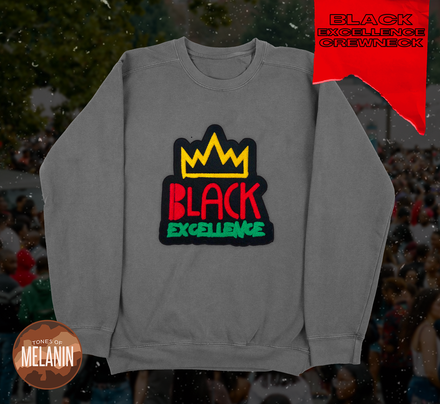 Grey Black Excellence Chenille Patch Sweatshirt