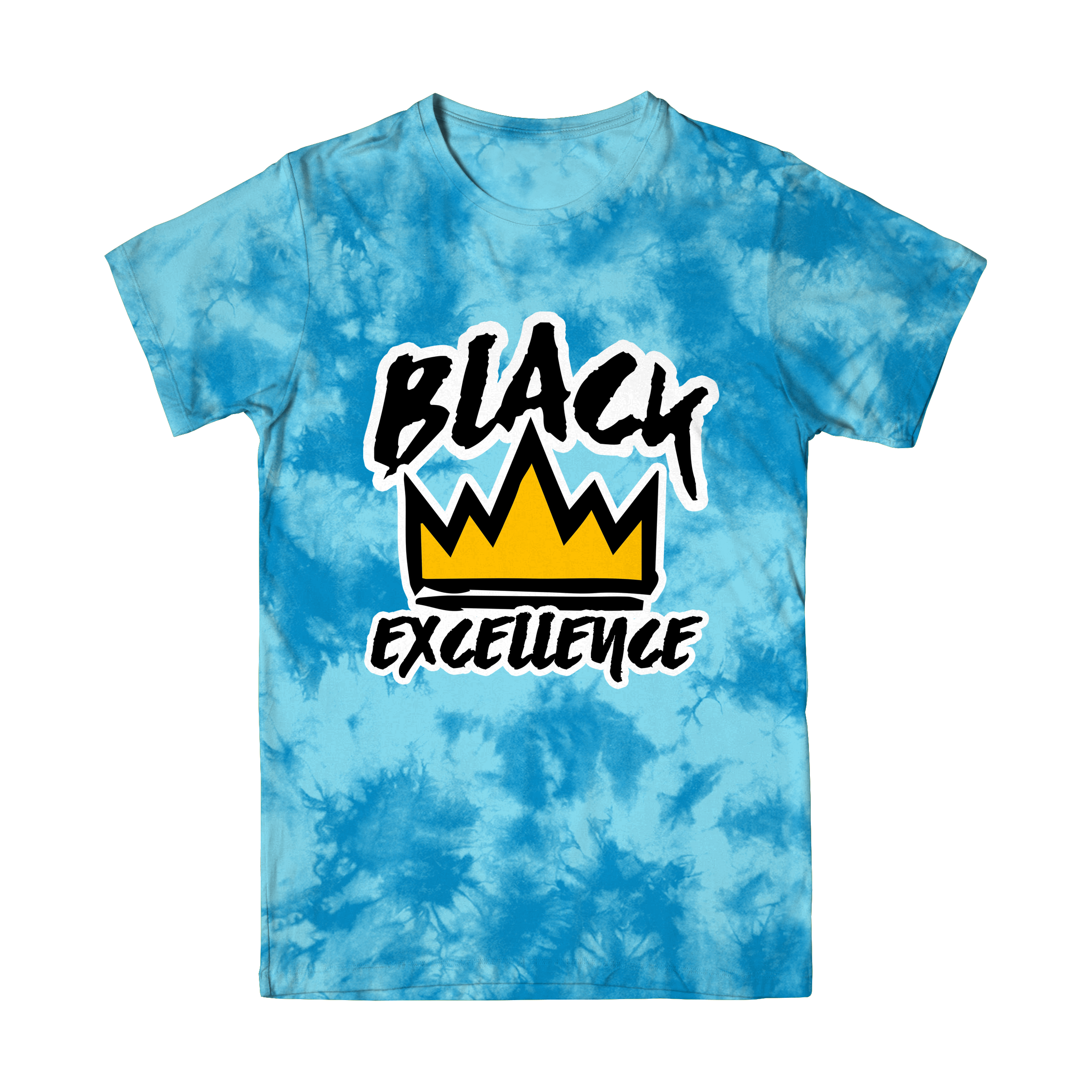 Light Blue Tie-Dye Black Excellence T Shirt