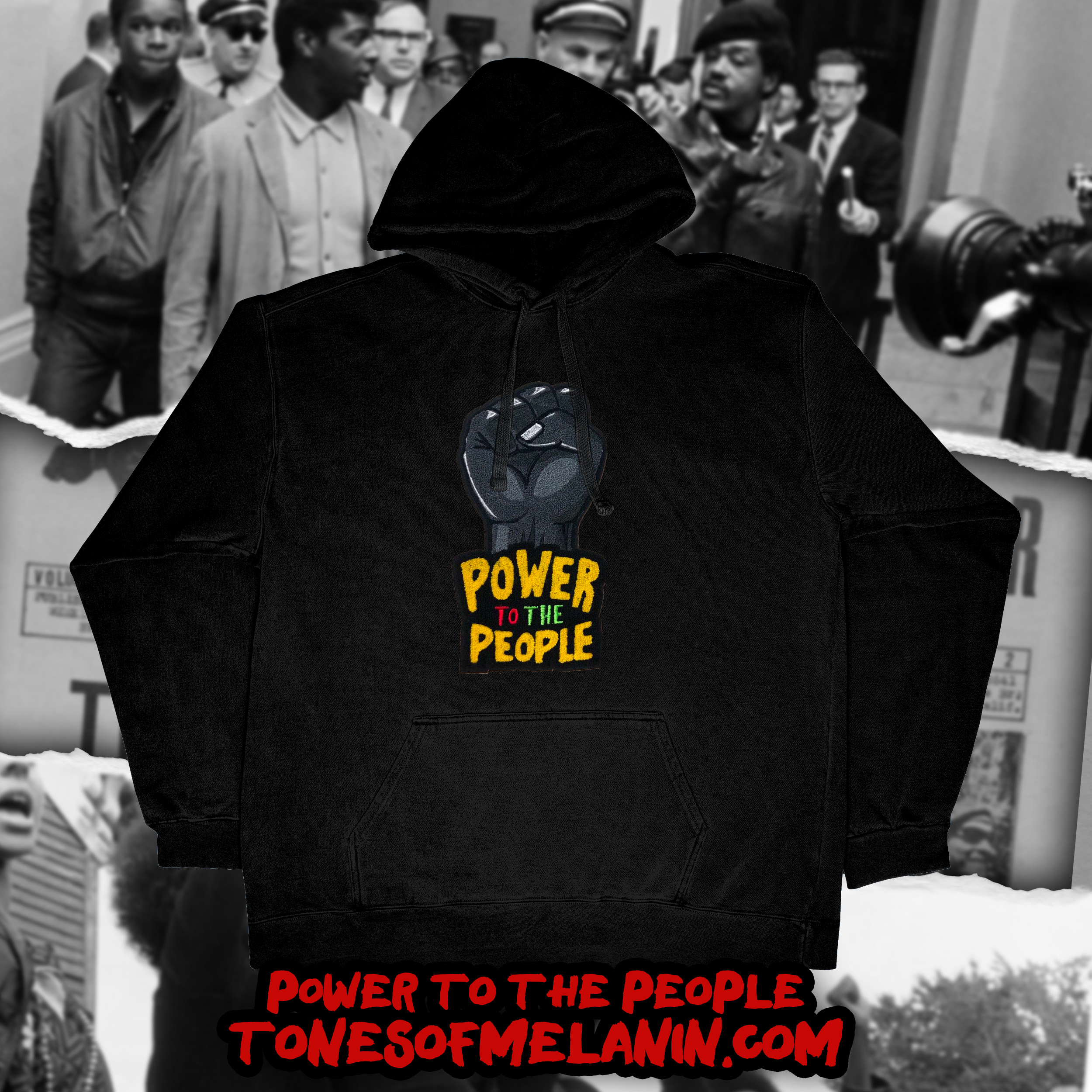 Power to the people hoodie black