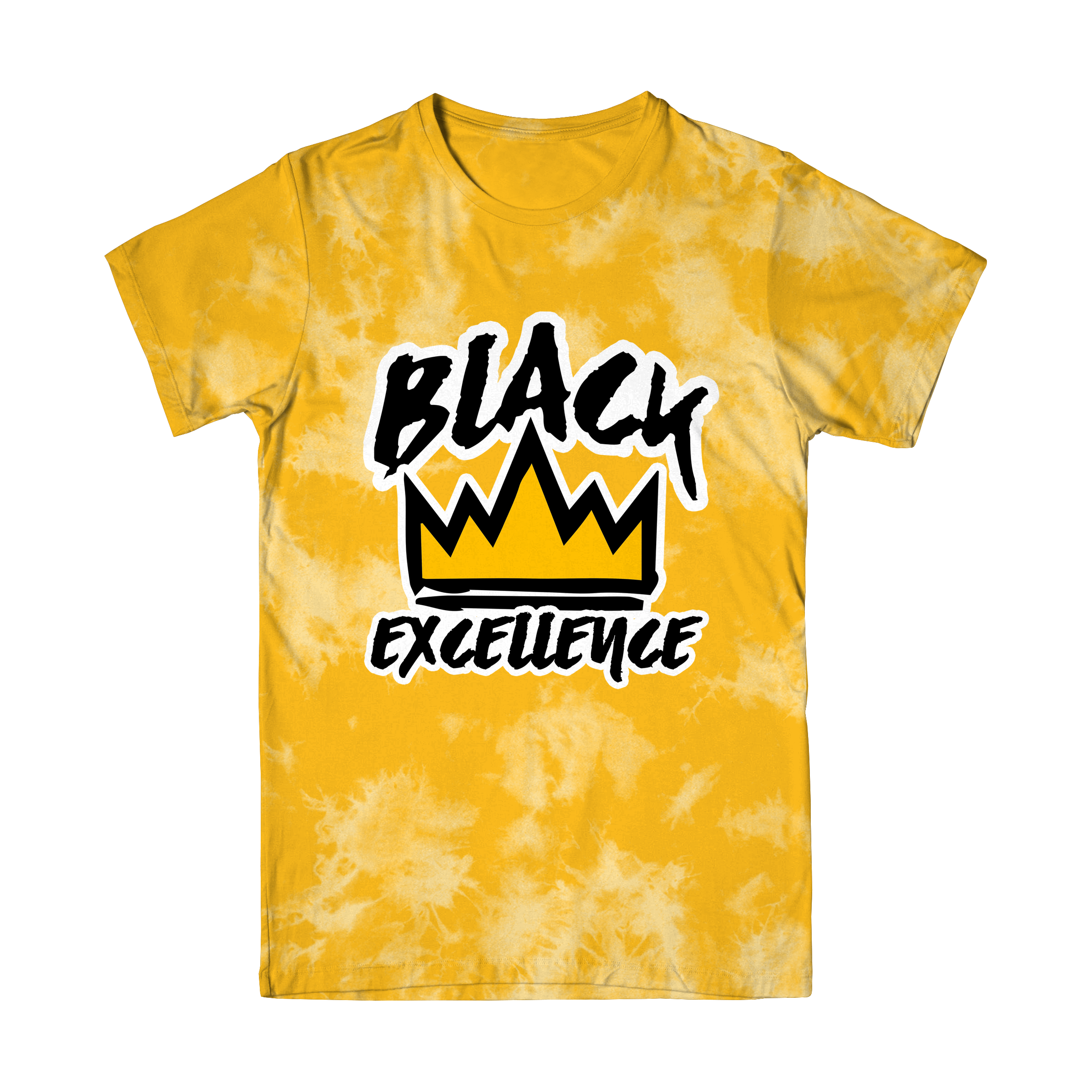 Yellow Tie-Dye Black Excellence T Shirt (Ships out March 15)