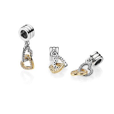 "Pandora Charm ""Interlocked Hearts"" Bicolor"