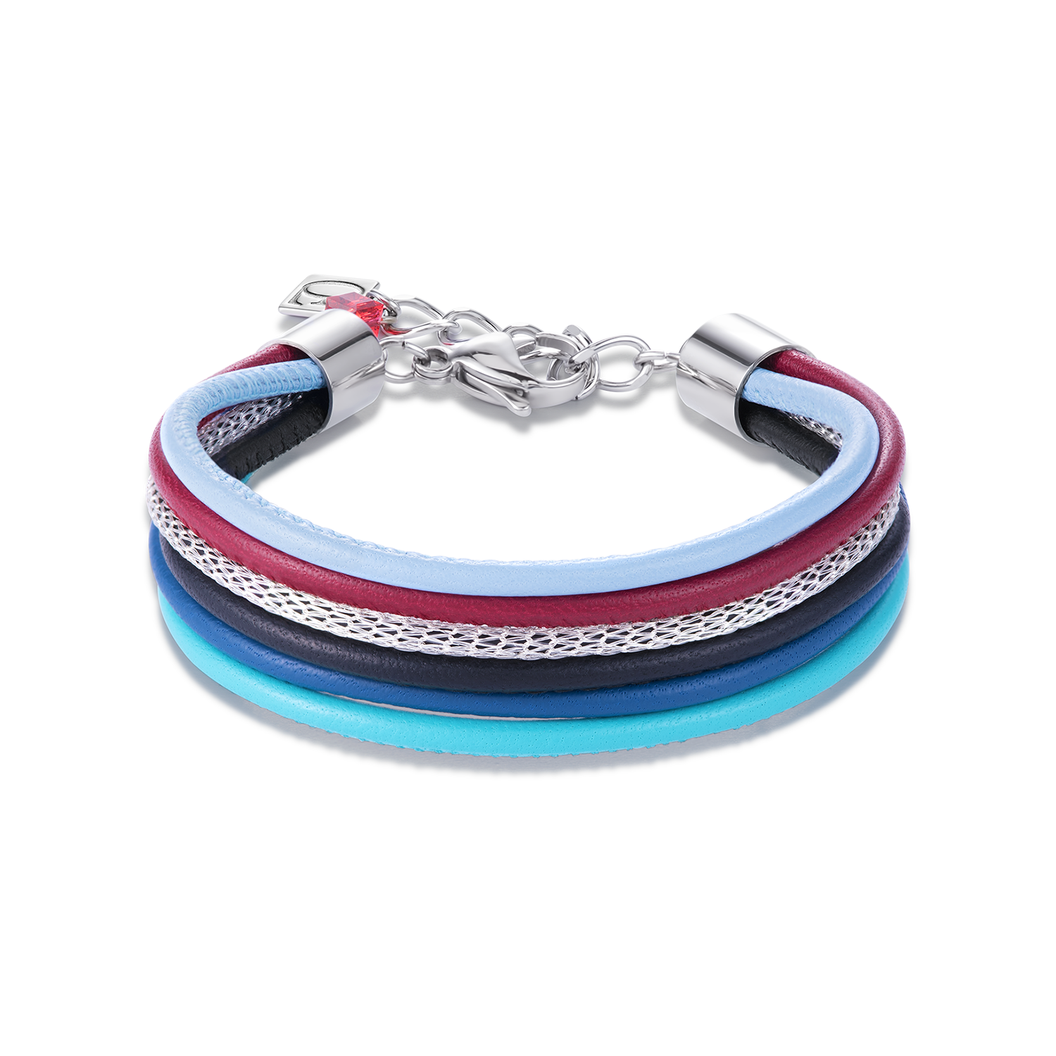 Armband Multirow Nappa-Leder & Mesh multicolor tancy