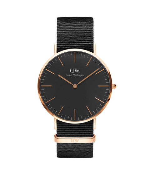 Cornwall Classic Black 40mm Rose Gold