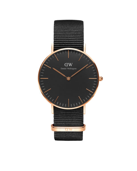 Cornwall Classic Black 36mm Rose Gold