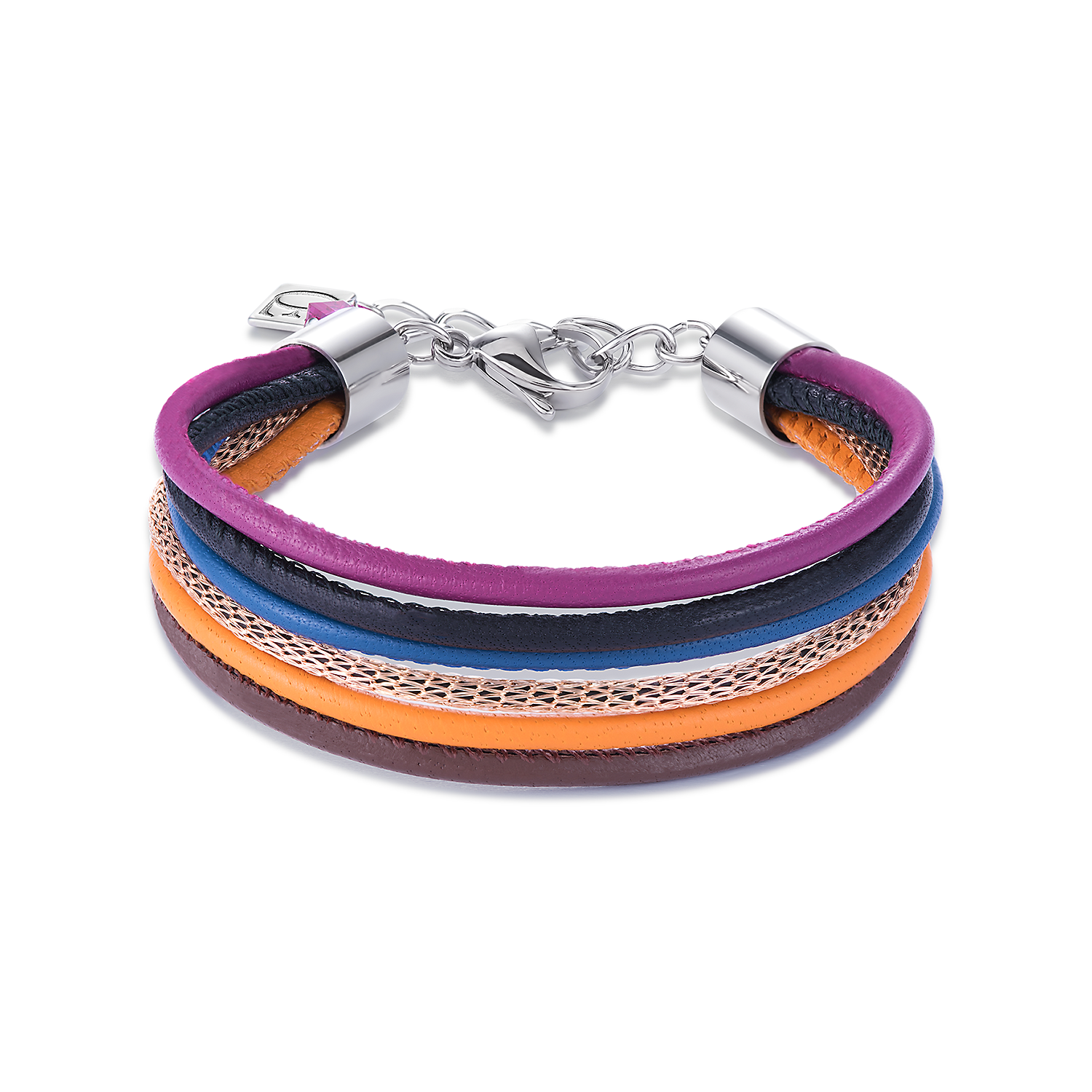 Armband Multirow Nappa-Leder & Mesh multicolor winter