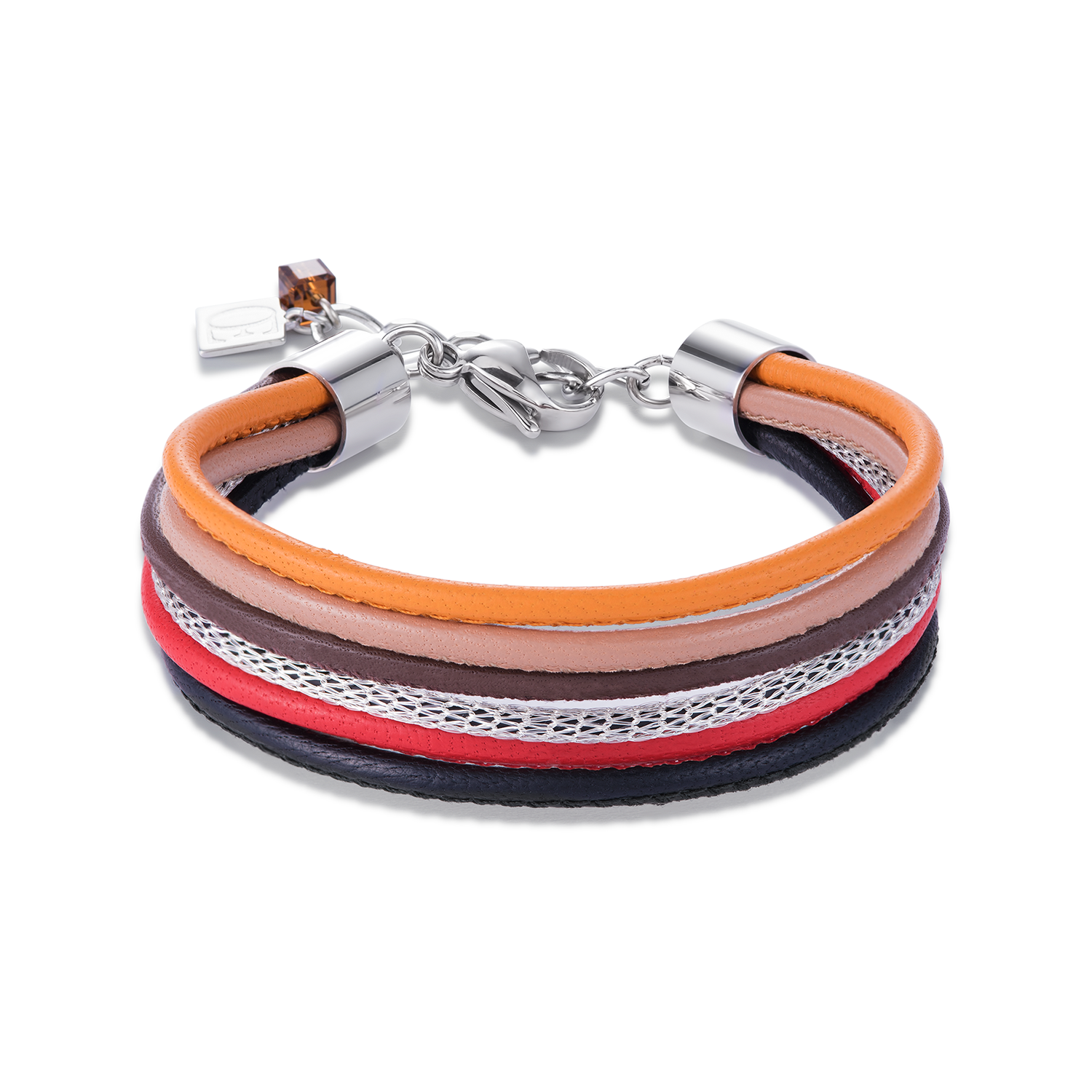 Armband Multirow Nappa-Leder & Mesh rot-orange