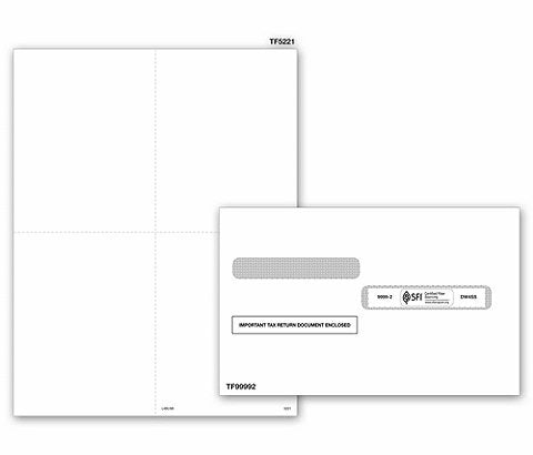Park Forms W-2 Envelopes, Tax Double-Window Security Envelope for 4 up style W-2 tax form