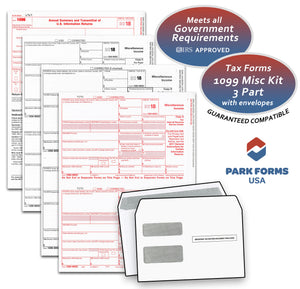 Park Forms 1099-MISC Laser Income Set & Envelope Kit, 3 part, for 25 Individuals (2018)