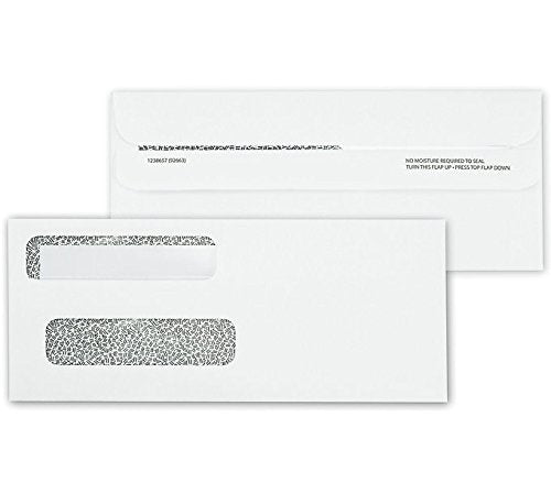 Double Window Self-Seal Security Confidential Tinted Envelopes Designed for Business Checks, QuickBooks, Laser Checks Flip and Seal, 500 Envelopes