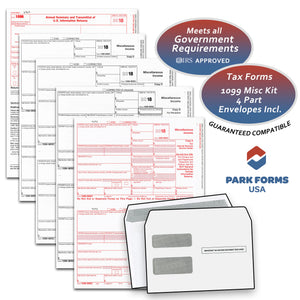 Park Forms 1099-MISC - 4-part- Laser Income Set & Self-Seal Envelope Kit, for 25 Individuals (2018)
