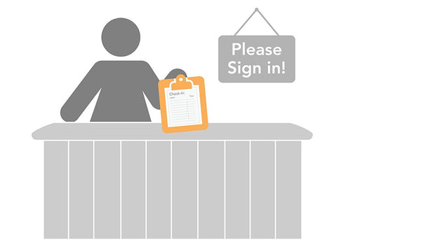 Self adhesive Security Patient Sign-In Sheet,100 Sheets per pad, Medical Icon Design, = HIPAA Compliant, Respect the privacy of patients.