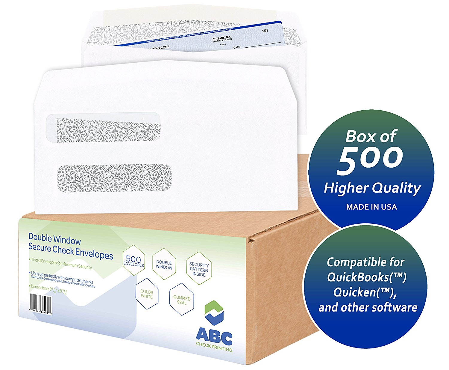 500 Check Envelope, Double Window Security Confidential Tinted Envelopes for QuickBooks Checks, Business Laser Checks, 24 lb, 3-5/8 x 8-5/8-Inches, Box of 500 Envelopes (Designed by ABC)