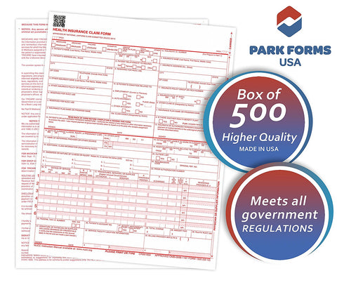 "NEW HCFA (Version 02/12) CMS 1500 Claim Forms, Health Insurance, (500 Sheets) Laser Cut Sheet, Medical and Insurance forms, Higher Quality - 8-1/2"" X 11"""