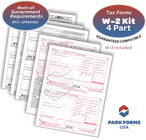 Park Forms W-2 Laser Forms Set - 4-Part - For 25 Employees (2018)