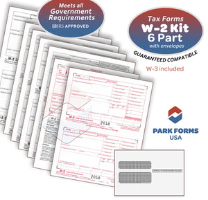 Park Forms W-2 Laser Set Forms & Envelope Kit, - 6-Part - (2018) For 25 Employees