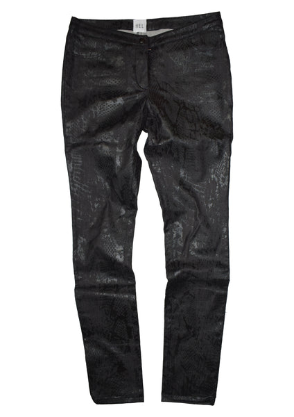 HEL Coated Slim-Fit Jeans mit Animalprint in Braun