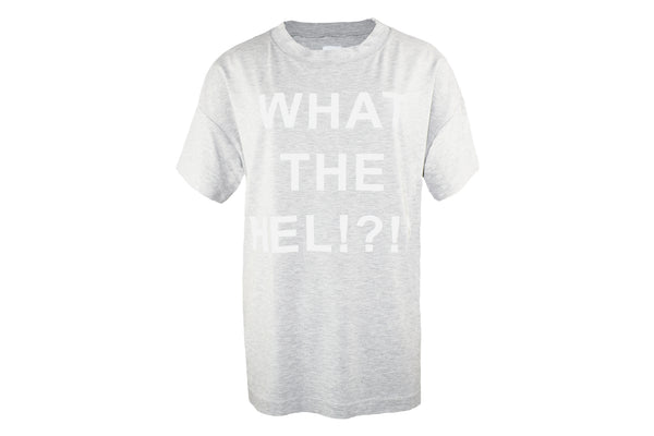 "HEL ""WHAT THE HEL!?!?"" Oversize T-Shirt Damen Jersey grau meliert"