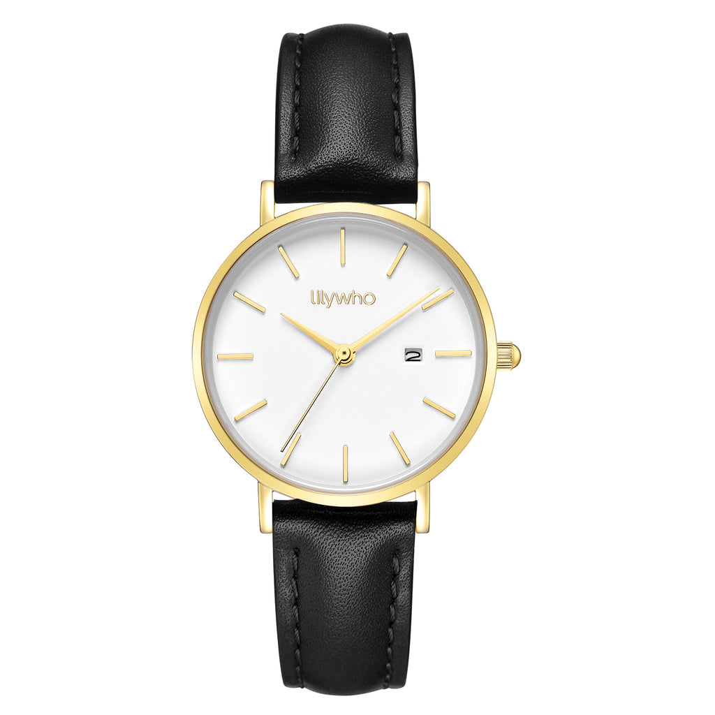 Lilywho Ladies White - Black Leather Strap Watch