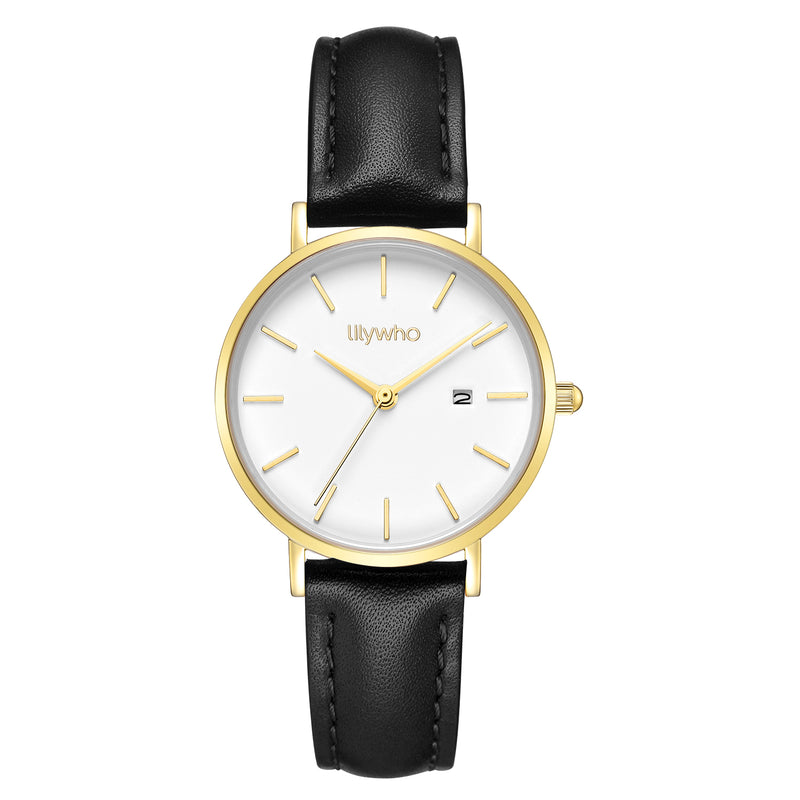 Lilywho Ladies White - Black Leather Strap Watch LW30009