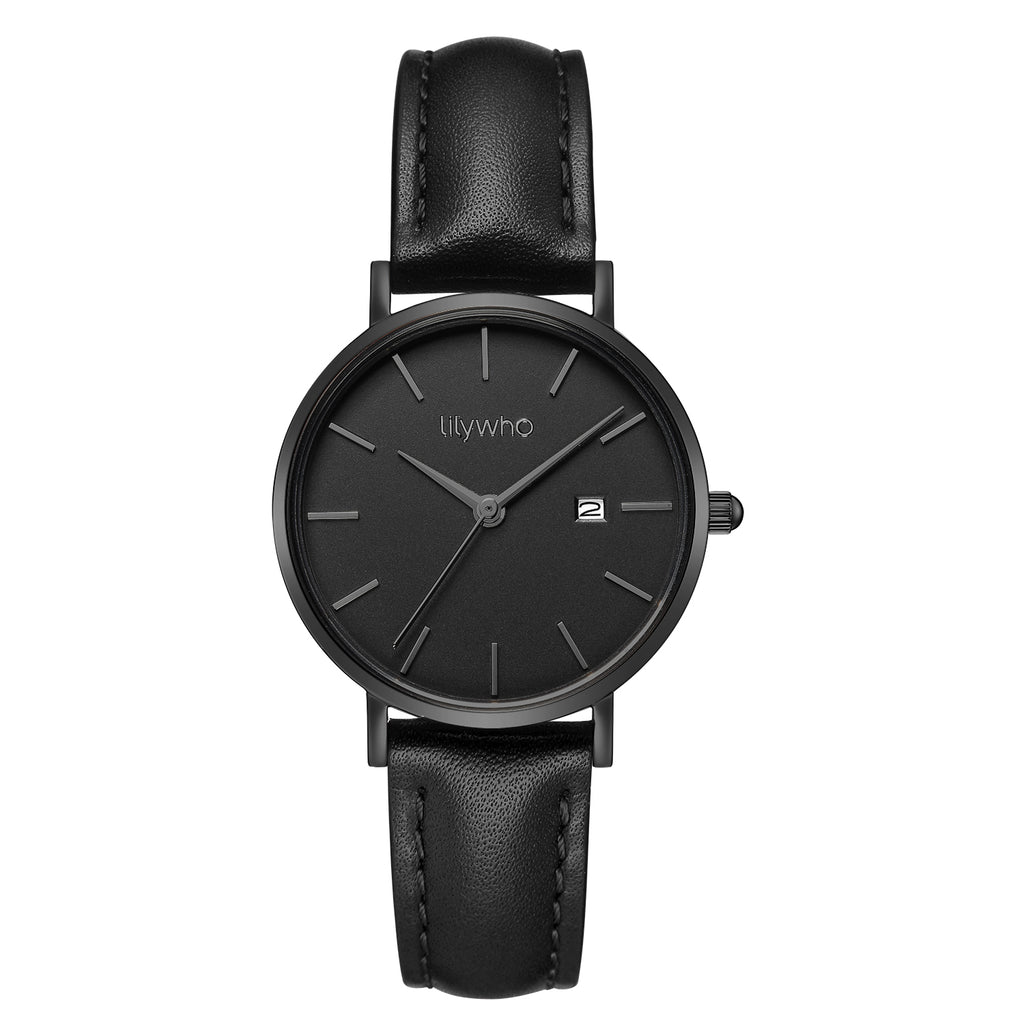 Lilywho Ladies Black - Black Leather Strap Watch