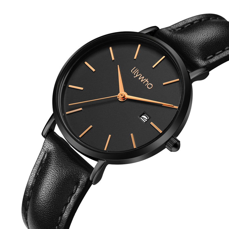 Lilywho Ladies Black - Black Leather Strap Watch LW30015