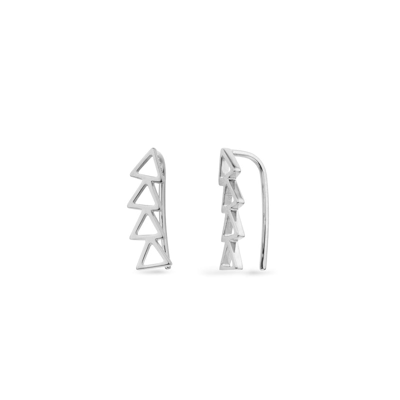 CRE-1023-S Cleo Roze Climber Silver Earrings