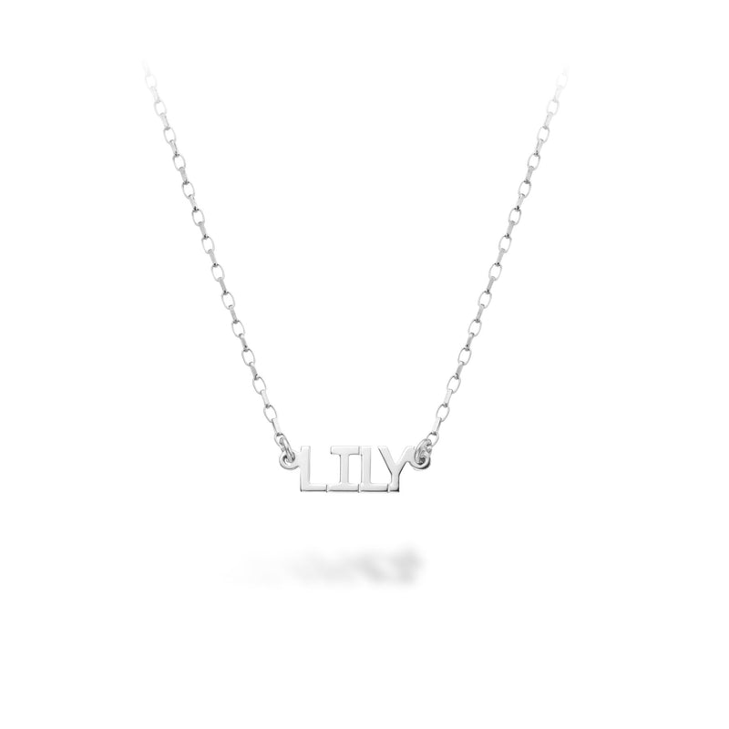 Lilywho Sterling Silver Block Name Necklace (1-6 Letters) LW-N082-S