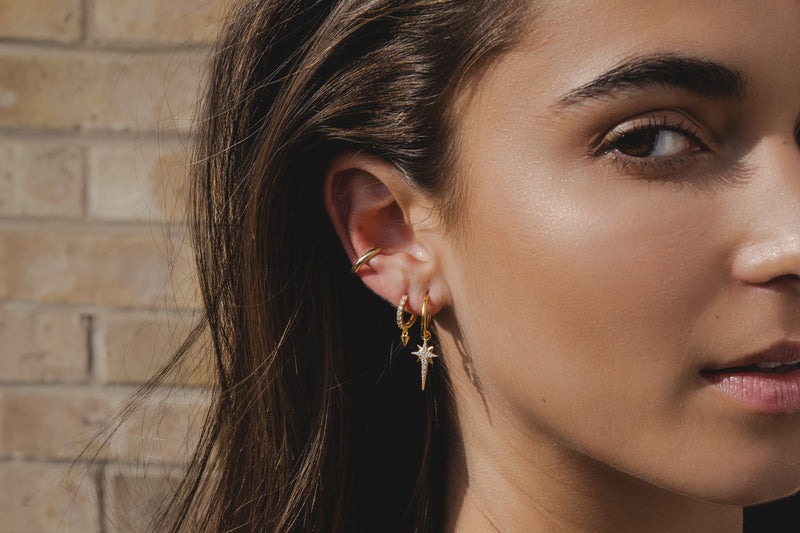 *PRE ORDER* Lilywho Star Hoop Yellow Gold Earrings LW-E006-Y