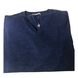 Blue V-Neck Merino Wool Sweater C3 Natural Performance