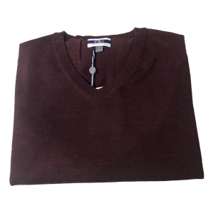 Bordeaux V-Neck Merino Wool Sweater C3 Natural Performance