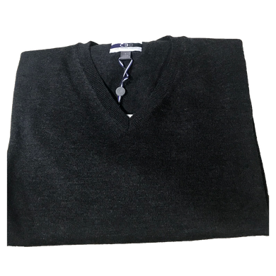 Charcoal V-Neck Merino Wool Sweater C3 Natural Performance