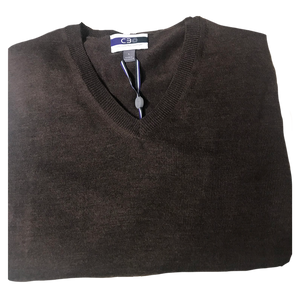Taupe V-Neck Merino Wool Sweater C3 Natural Performance