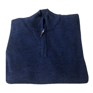 Blue 1/4 Zip Merino Wool Sweater C3 Natural Performance
