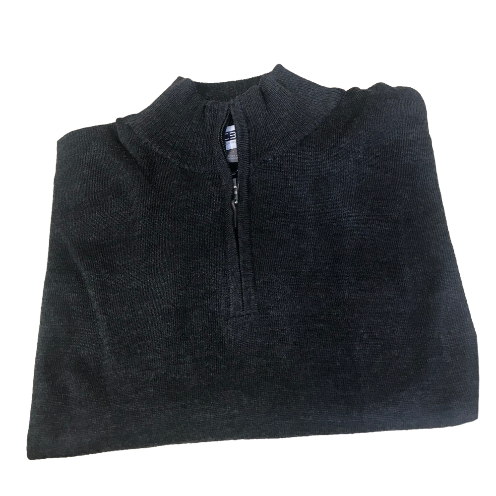 Charcoal 1/4 Zip Merino Wool Sweater C3 Natural Performance