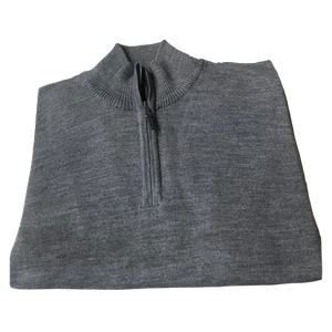 Light Grey 1/4 Zip Merino Wool Sweater C3 Natural Performance