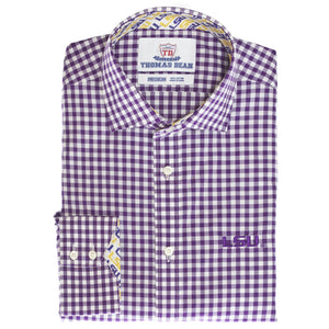 TDC LSU Lifestyle Purple Gingham Shirt With Chest Logo