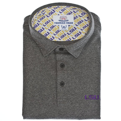 LSU Cotton Knit Polo - Black/Grey