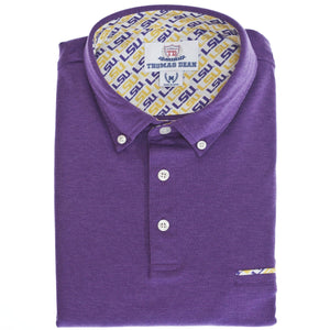 LSU Cotton Knit Polo - Purple