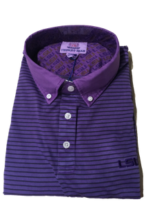 LSU Cotton Knit Polo - Purple Black Stripe
