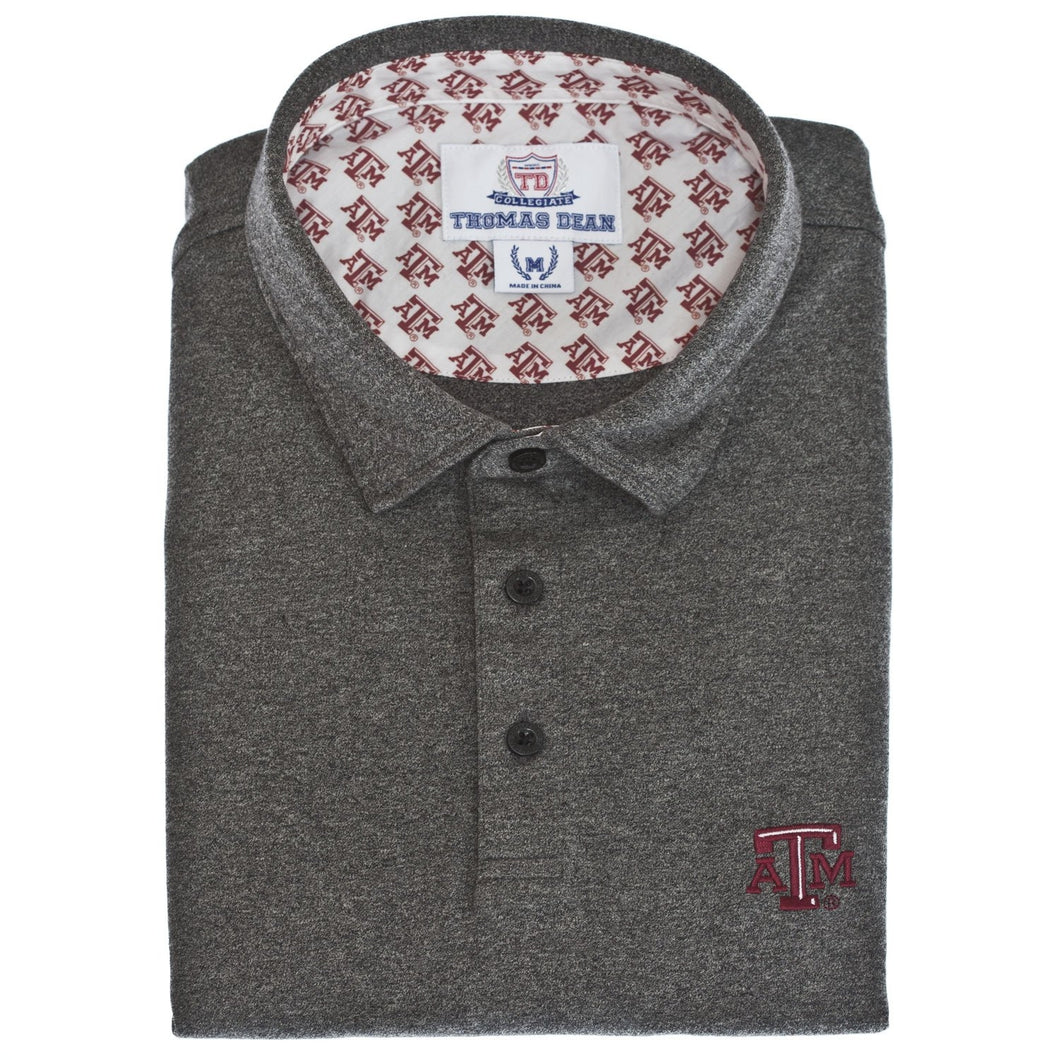 Texas A&M Cotton Knit Polo - Black/Grey