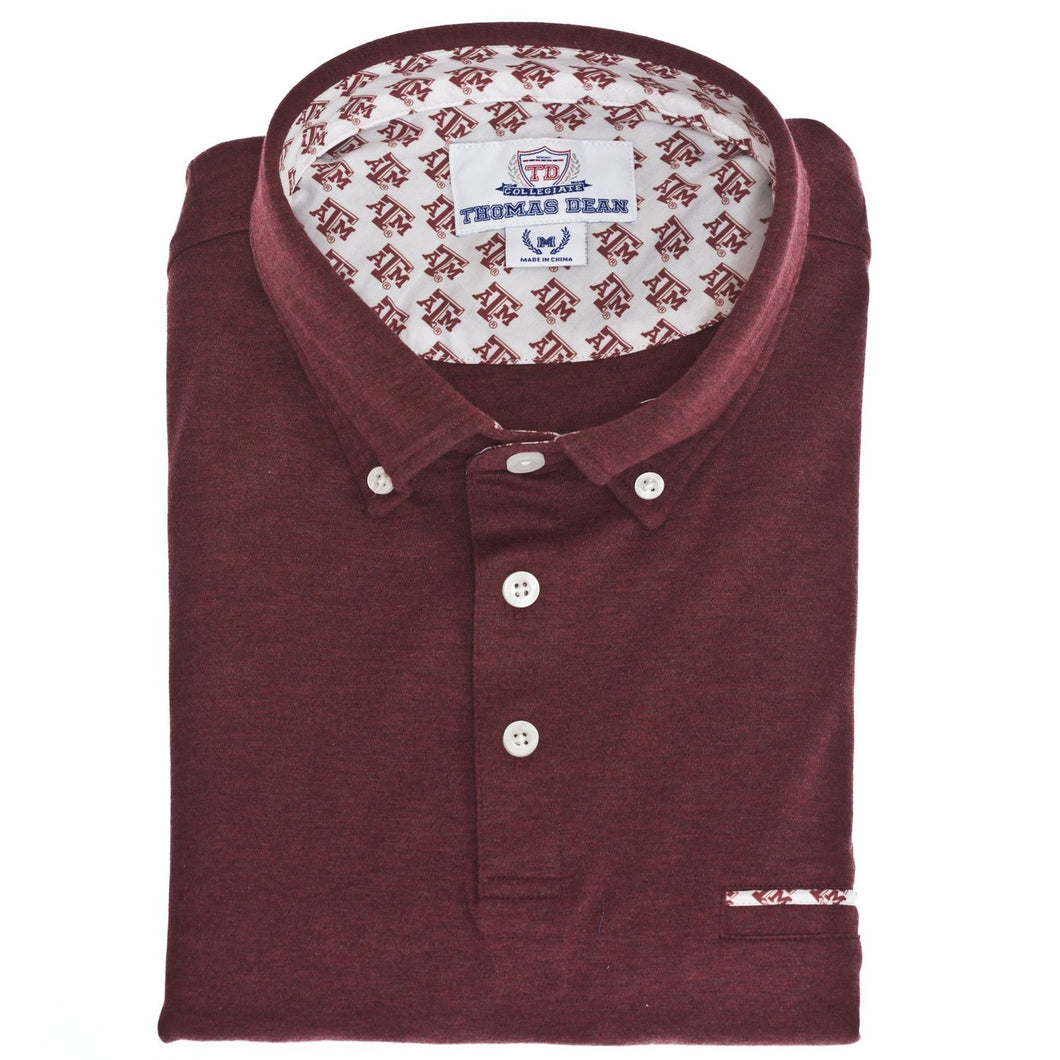Texas A&M Cotton Knit Polo - Maroon