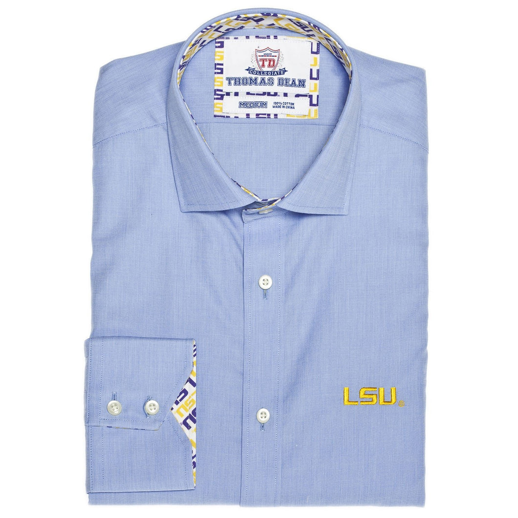 TDC LSU Blue End On End Button Down Sport Shirt