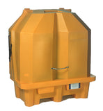 Locked 2 drum spill pallet for outdoor secondary containment