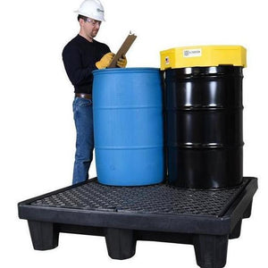4 drum spill pallet with 2 drums on it