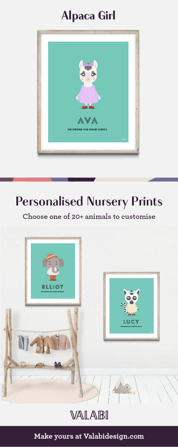 Animal Nursery Art Baby Gift Print Alpaca